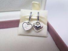 New w/Box & Tags Pandora 2 Pc Best Friends w/ Pink Enamel Dangle Charm #791950CZ