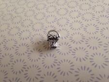 925 Sterling Silver 3D Flower Shopping Basket Charm Fits European Bead Bracelet