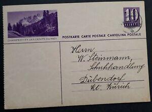 "1937 Switzerland ""Champéry & Dents du Midi"" 10c stamped Postcard Ambulant cd"