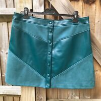 M&S Collection Dark Evergreen Faux Leather Suede A-Line Mini Skirt 16 BNWOT
