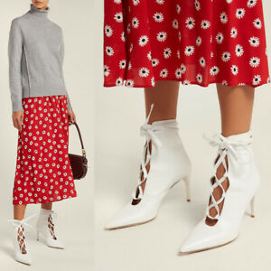 Sz 40 NEW $950 MIU MIU White LACE-UP Leather Point Toe Stiletto Heel ANKLE BOOTS