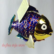 Large Cloisonne Fish Metallic BLUE Metal Articulated Christmas Holiday Ornament