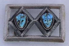 Vintage sandcast Sterling silver Turquoise Frog Fetish belt buckle Andrew QUAM