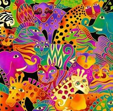 Mythical Jungle Animal Collage Y2132-56M Multi Bright w/Met by Laurel Burch BTY