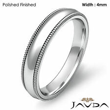 4mm Dome Milgrain Solid Classic Ring Platinum Plain Men Wedding Band 9g 11-11.75