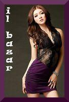 vestito donna mini abito corto pizzo club-disco 2 colori viola-nero tg u