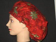 Surgical Scrub Hats/Caps~Christmas~Bright Red with Gold Snowflake **Stars**