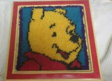 "Winnie The Pooh Bear Crossstitched Stitch Framed Artwork 17"" x 17"" Frame"
