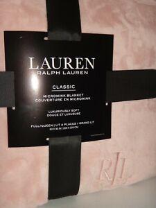 """RALPH LAUREN Dusty Rose Pink FULL / QUEEN Micromink Plush Throw Blanket 90 x 90"""""""