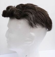 HUMAN HAIR toupee salt pepper brown grey curly wavy wig short men man wig bald