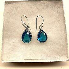 Handmade Gemstone Hook Earrings Natural Vintage Blue Topaz Faceted