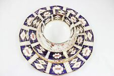 5 Pc ANTIQUE ENGLISH IMARI HAND PAINTED COBALT GOLD DINNER SIDE PLATES CUP BOWLS
