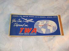 TWA TRANS WORLD AIRLINES PASSENGER TICKET BAGGAGE CHECK AVIATION 1950'S