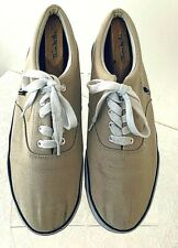 Boat Shoes Biege Tan Polo Ralph Lauren Men' Shoes Lace Up Canvas Size 12 D