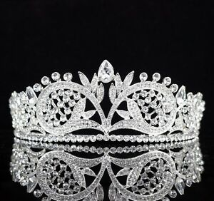 Floral Clear Austrian Rhinestone Crystal Tiara Crown Bridal Pageant Prom Wed T57