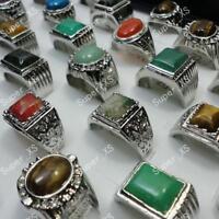 5pcs natural stone Men's silver plated Rings wholesale mixed lots free shipping