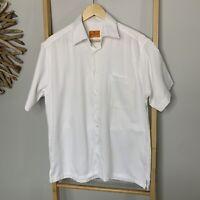 Philippe Venet France Size L Men's White Vintage Summer Shirt Short Sleeve