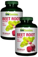 TNVitamins Beet Root 500 Mg Capsules - 2 bottles x 100 Quick Release Capsules