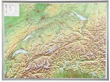 3D Carte Du Relief Suisse Avec Aluminium Cadre Format Paysage 77x57cm #100564P