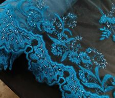 Turquoise, Mesh, Raised Tri-beaded fabric , 3D Flower, Beaded Wedding dress Veil