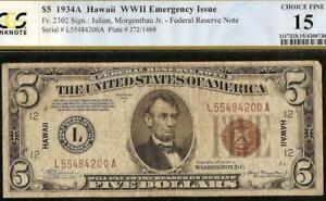 1934A $5 DOLLAR BILL WWII WW2 HAWAII BROWN SEAL NOTE CURRENCY PAPER MONEY PCGS