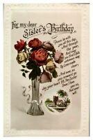 Antique RPPC postcard Birthday card Sister vase of roses flowers