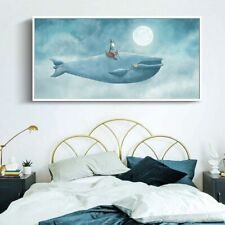 Blue Whale Cartoon Wall Decorations Art Canvas Print Poster (UNFRAMED)