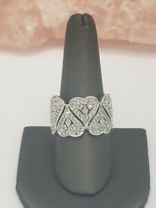 DESIGNER ESPO STERLING SILVER AND CLEAR CZ HEARTS WIDE BAND RING SIZE 10