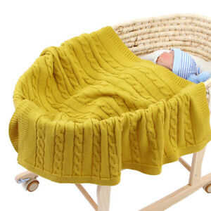 Soft Baby Newborn Blanket Swaddle Toddler Knit Crochet Throw for Cot Pram Basket
