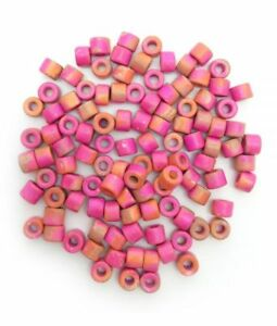 Ceramic tubes, Pink Orange Spotted, 6mm, 100 Piece, ceramic beads