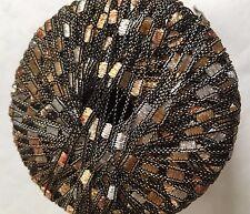 Di.Ve Scaletta Mini Ladder Ribbon Yarn #24263 Mocha - Brown Gold Silver 25g 65yd