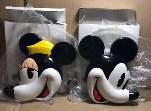 Applause Disney Mickey & Minnie Ceramic Paperweight New In Box Set