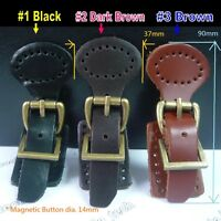 Brown or Black Leather Bag Buckle with 14mm Magnetic Bag Clasp DIY Bag craft