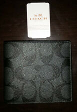 NWT Coach Men's Double Bill Signature Wallet PVC/Leather 75083 Charcoal/Black