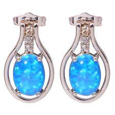 Gemstone Silver Stud Earrings 16mm Oh3548 Blue Fire Opal & Zircon Women Jewelry