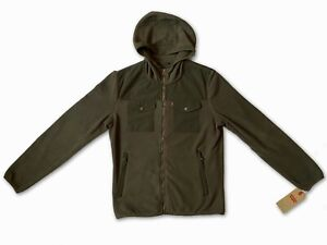 New Levi's Mens Long Sleeve Hooded Khaki Green Fleece Zipped Jumper Jacket