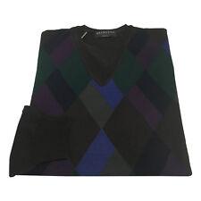 BRAMANTE pulóver marrón oscuro av con diseño geométrica 100% lana MADE IN ITALY