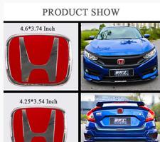 For Honda 10th Gen Civic 2016-2018 RED Front Rear Back Logo Emblem Badge Cover