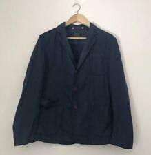Replay Women Jacket Size Small Button Linen Cotton Mix Blue Light Long Sleeve