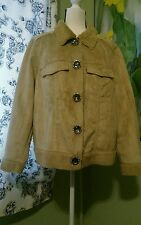 Chit Chat Faux TAN Suede Shearling Fur Womens Giant Rhinestone Snap Jacket 1X