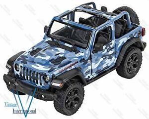 1:34 Scale Model For Jeeps Wrangler Rubicon 2018 Camo Open Top Blue @UK