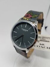 Coach Watch 14602372 Grey Leather Strap Grey Face Men's
