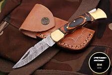 "6""RM CUSTOM DAMASCUS STEEL FULL TANG FOLDING KNIFEPOCKET KNIFE HUNTIING KNIFE80"
