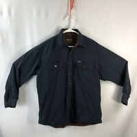 Vintage Woolrich Solid & Plaid Wool Button Down Shirt Men's Sz Large Blue