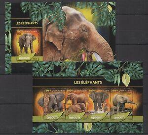 DJ073 2016 DJIBOUTI FAUNA WILD ANIMALS LES ELEPHANTS KB+BL MNH