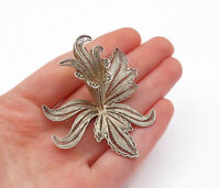 925 Sterling Silver - Vintage Filigree Blooming Flower Motif Brooch Pin - BP4694