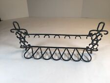 "Estate Pipe Stand Rack Holder 7 Spaces Metal Made In Italy 15"" Long"