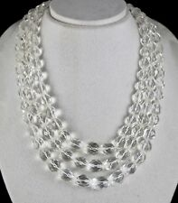 NATURAL WHITE ROCK CRYSTAL QUARTZ BEADS FACETED 3 LINE 1311CTS GEMSTONE NECKLACE