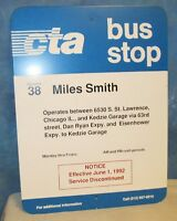 Vintage Bus Stop Sign 24 x 18 CTA Chicago Transit Authority 38 Miles Smith S188