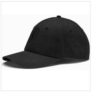 PUMA Scuderia Ferrari Lifestyle Logo Baseball Cap Adjustable Hat 022525 Black OS